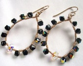 Jet Black AB Swarovski Loop Earrings Wire Wrapped in Gold Filled, Gift for Her - IOStudio