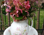 Gorgeous Rare Ironstone Pitcher, and Bowl  Moss Rose