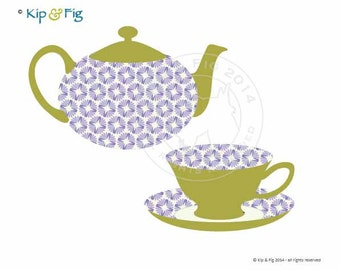 Teapot and Teacup applique template - PDF applique pattern