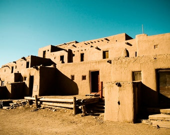 New Mexico, Southwest Photograph, Taos Pueblo, Travel Photography, Shadow