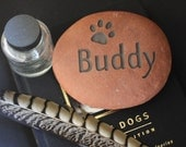 Small Pet Memorial Stone Engraving with paw print