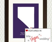 LAS VEGAS WEDDING - Nevada Map personalized as a gift to celebrate an engagement, wedding, honeymoon or anniversary.