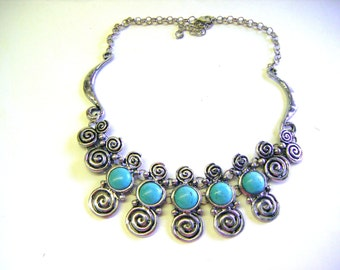 Vintage Huge Tibet Silver and Turquoise Chunky Necklace