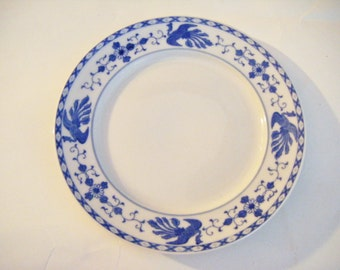 Mikado Blue By Nippon Bluebirds and Flowers on White Plate