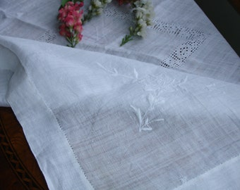 French Linen  Table Cover Embroidery and Cut work 1950s