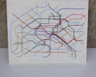 Paris Metro Embroidered Map, Framed