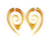 """Fake Gauge Earrings - Rare Caramel Horn Earrings Fake Piercing - Caramel Horn Earrings """"Honey Traps"""""""