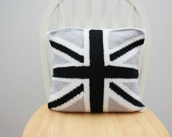 Decorative pillow - union jack pillow  - Knitted cushion cover - black, white and grey