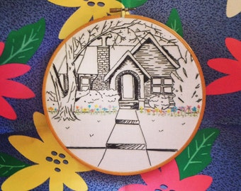 """Custom Handmade 8"""" embroidery hoop art / black and white / houses / cottages / wooden embroidery hoop / wall hanging / decoration / RV"""