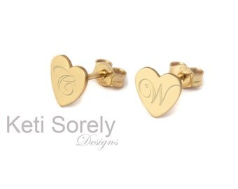 Engraved Initials Heart Earrings (Order any initials) -  Stud Earrings - Initials Earrings