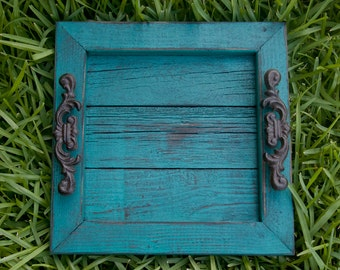 Decorative / Serving Tray - Turquoise Distressed with Black Glaze Topcoat
