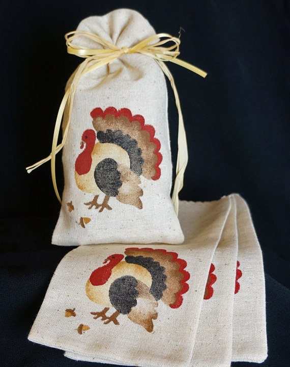 Fabric gift bags thanksgiving turkey