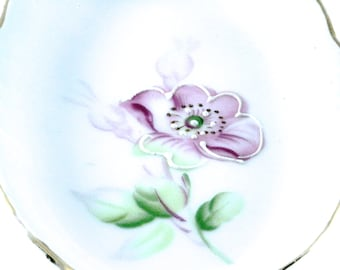 Delicate and Dainty Antique Hand-Painted Hand-Gilded China Dressing Table Floral Dish Tray