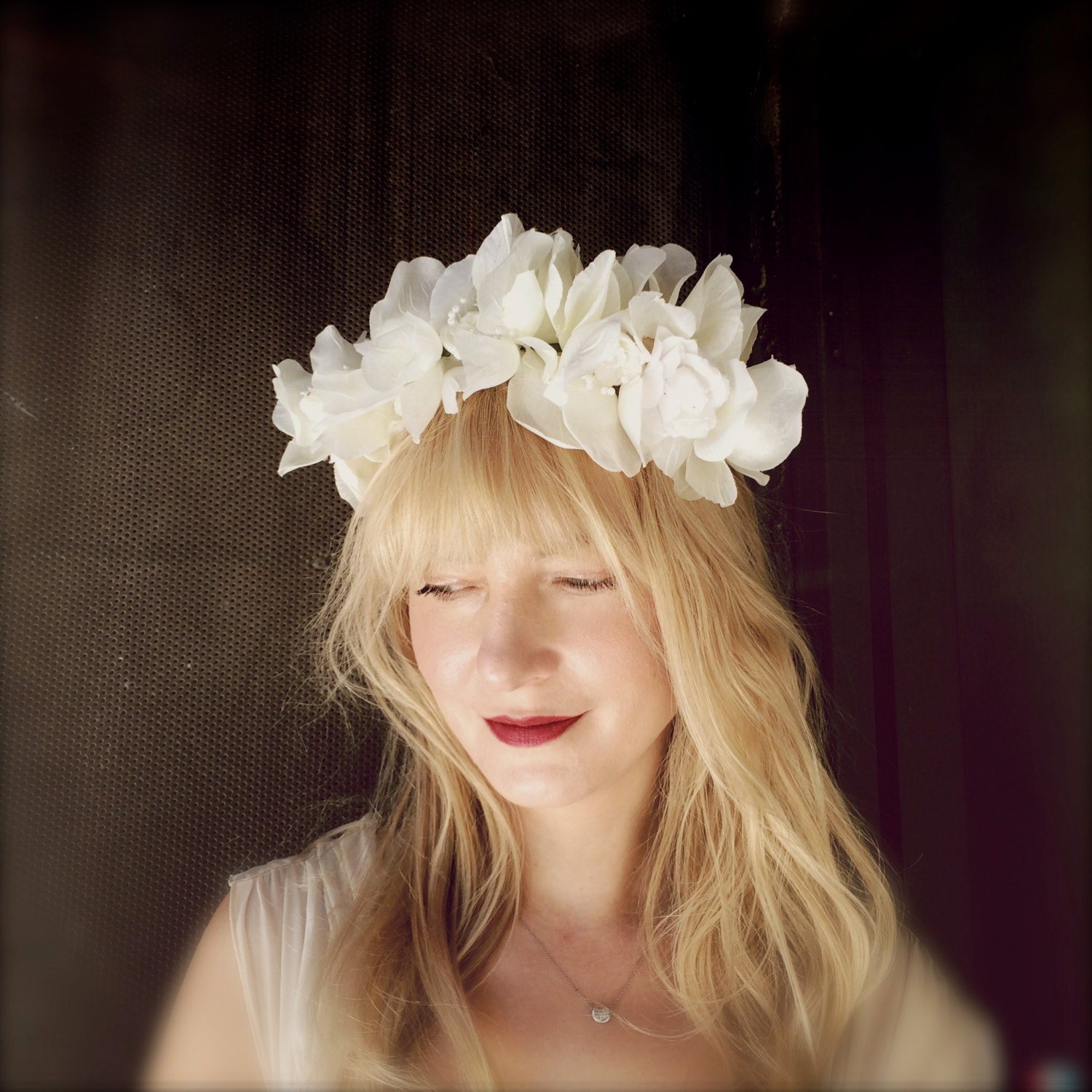 Wedding Flower Headpieces: Wedding Flower Headband Crown White Tiara Bridal Hair