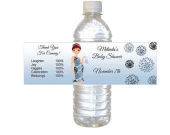Personalized Blue Baby Boy Chic Mommy Water Bottle Labels - waterproof - set of 12