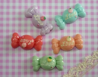 5 pcs Wrapped Candy Cabochon, Assorted Color/Mixed Wrapped Sweet Cabochon, Food Miniature  C055
