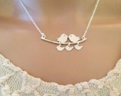 STERLING SILVER NECKLACE,bird and branch lariat necklace,mother necklace,mothers day gift,gift for mom and sister