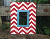 Wood Picture Frame Fabric Covered  Frame Red Chevron Chevron Frame Wedding Gift Wall Decor