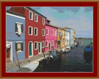 Burano Canal, Italy Cross Stitch Pattern