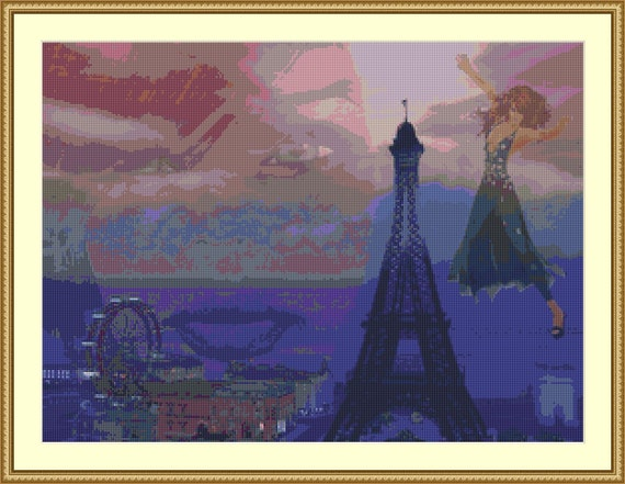 Paris Dreams Cross Stitch Pattern /Digital PDF Files /Instant downloadable