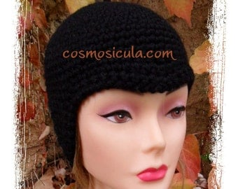 "Woman Hat ""Minimal"". Crochet hat worn in several ways: look 30 years or hypermodern"