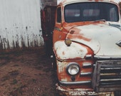 8x10 - Truck - Macro, Orange, Rusty, Farm Truck