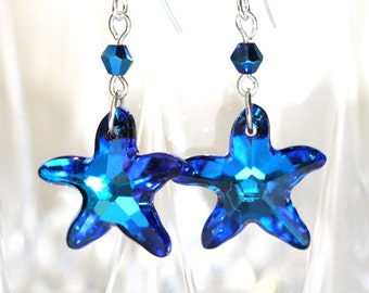 Starfish Earrings Blue Earrings Beach Jewelry Ideas Star Earrings Dangle Earrings Beach Wedding Bridesmaid Gift Gift for Best friend BB