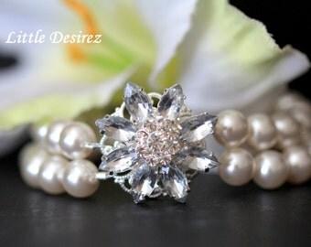 Rhinestone Pearl Bridal Bracelet, Bridal Cuff Bracelet, wedding Bridal Bracelet, Double Strand Pearl Bracelet, Bridal Bracelet, ANASTASIA