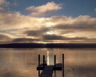 Bay Sunrise at the Dock, Quiet Morning Sunrise on Hood Canal Shoreline Fine Art Photograph
