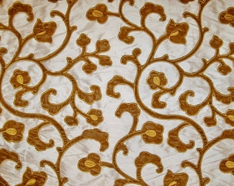 STROHEIM & ROMANN Gold NUGGET Cut Silk Velvet Fabric 10 yards