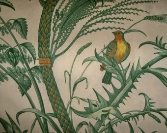 BRUNSCHWIG & FILS Birds Thistle Toile Fabric 10 Yards Green Cream Yellow