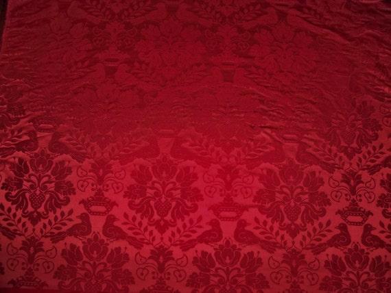 Scalamandre Love Bird Silk Damask Fabric 10 Yards Ruby Red