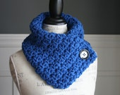 ROYAL BLUE Cowl Neck Scarf  with black button, crocheted
