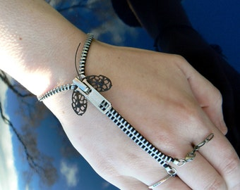 Silver Steampunk Moth Zip-On Bracelet - Handflower Bracelet - Steampunk Jewelry