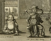 1780 Antique print of BUDDHIST or CONFUCIANIST IDOLS. Buddhism. Oriental Idols. 237 years old rare copper engraving