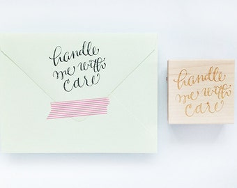 Handle Me With Care Rubber Stamp - Hand-Calligraphy Stamp for Holiday Wrapping and Packaging