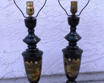 2 Rare Vintage Japanese Asian Mt FUJI Metal Enamel Gold Silver Table Lamps