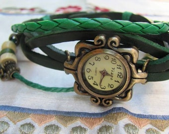 Women Leather Watch - Genuine Leather Wrap Bracelet With A Lovely Classic Pattern