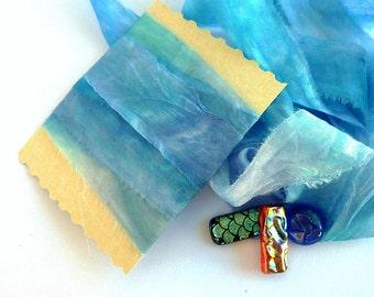 Blue Silk Ribbon - Raw Edged Ribbon - Gift Wrapping - Nuno Felting - Ocean Blue