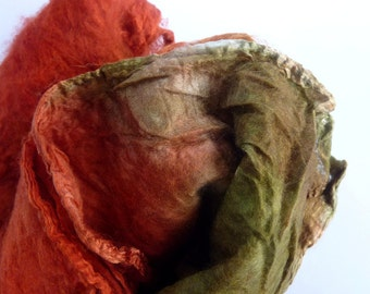 Silk Mawata Hankies for Spinning and Felting Crafts Hand Dyed Silk  Olive and rust