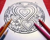 I am Sooo Loved! Mandala Coloring Page (single page) to print and color - Instant download PDF - Plus Coloring Tips