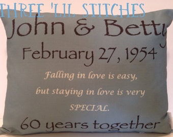 Wedding Pillow-  wedding date, wedding, anniversary, poem, quote