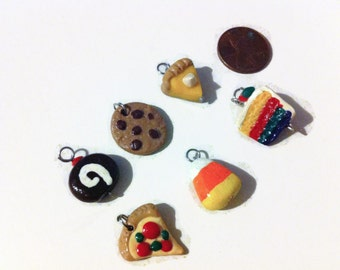 6 Piece Assorted Food Charms, food charms, polymer clay charms, tiny food, polymer clay, handmade charms, kawaii, gag gifts, assorted charms