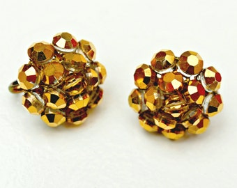Vogue Signed  earrings - metallic gold bead cluster - clip on earrings - Mid Century