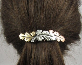 Leaves French Barrette 80mm Sterling Silver Copper Brass Ox Satin Finish