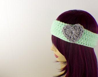 Minty Green Crochet Headband with Grey Heart
