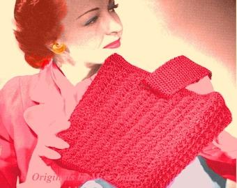Vintage 1940s Shell Stitch Tote Bag 290  PDF Digital Crochet Pattern