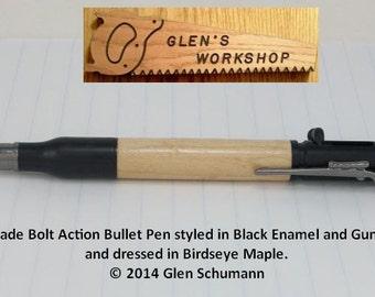 Bolt Action Bullet Pen 30 cal  Parker Pen Blk Enamel Gun Metal Birdseye Maple Handmade Pen