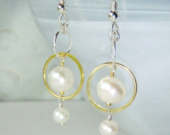 Pearl earrings, silver & gold, OOAK