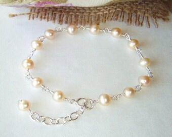 Peach pearl bracelet, sterling silver jewelry